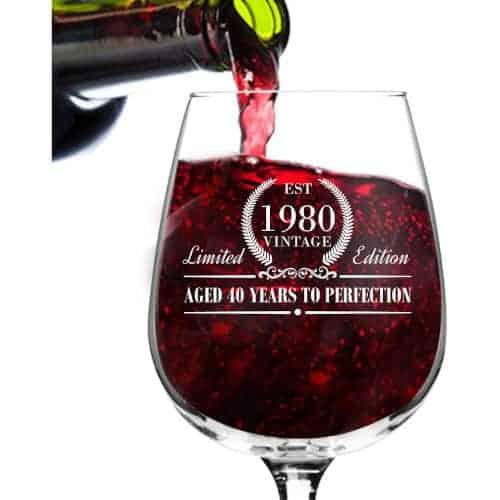 40 Birthday Gift Ideas — 1980 Vintage Edition Wine Glass