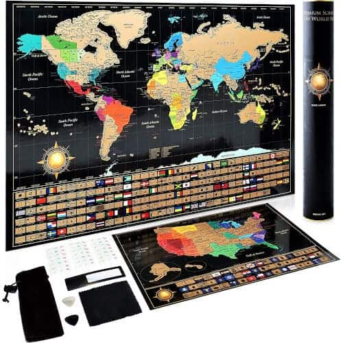 40 Birthday Gift Ideas — Scratch Off World Map for Travelers
