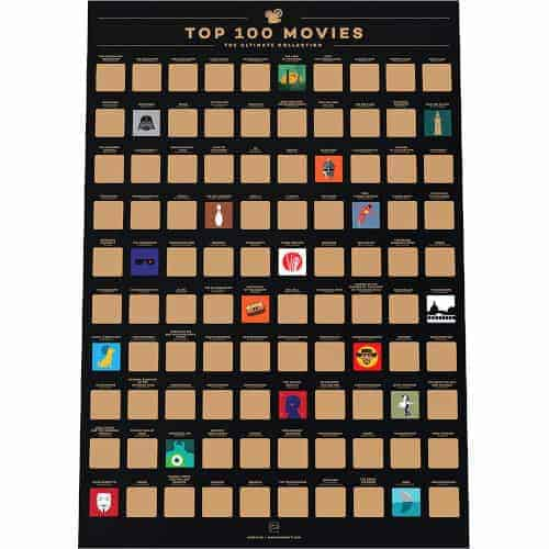 gift ideas — top 100 movies scratch off poster