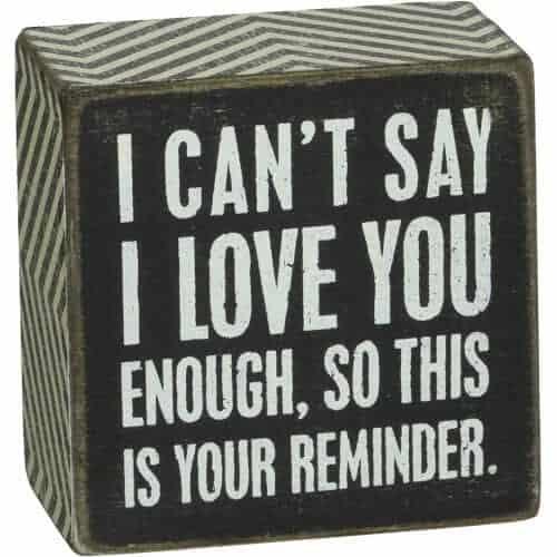 gift idea - Chevron Trimmed Box Sign I Love You
